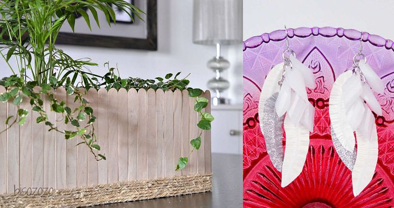 Popsicle stick planter,duct tape feather earrings