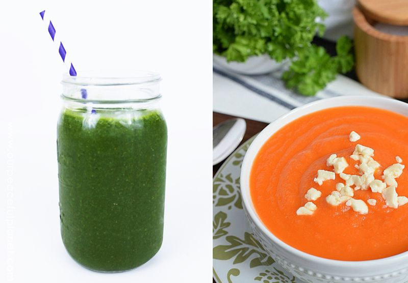 Green smoothie,simple carrot soup