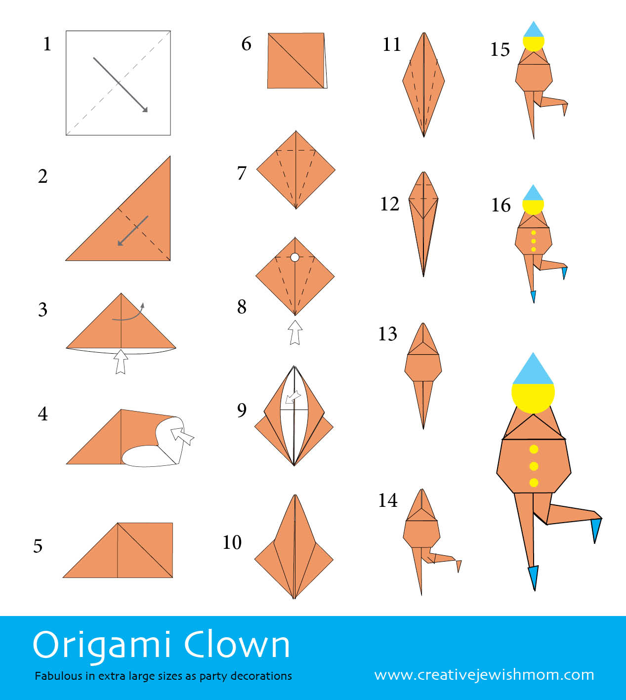 origami clown my blog. Black Bedroom Furniture Sets. Home Design Ideas
