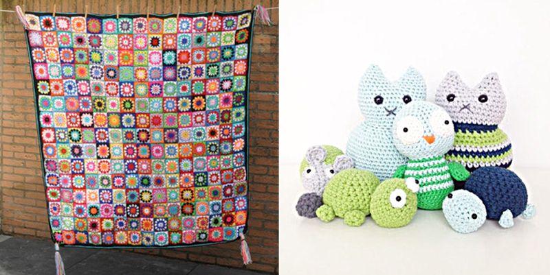 Crocheted granny circles blanket,amigurumi old,cat,turtle