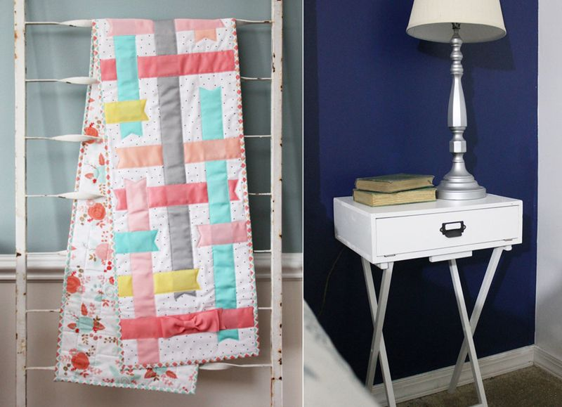 DIY nightstand from folding table,ribbon quilt table runner