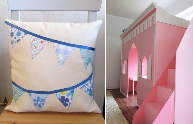 Bunting banner appliqued pillow,DIY princess castle loft bed