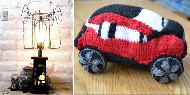 Industrial lamp shade DIY, knit car