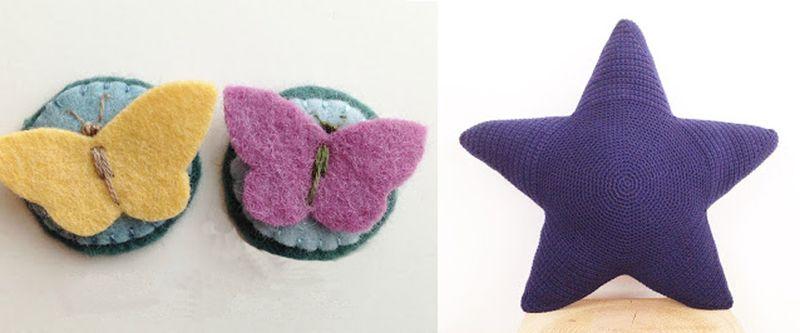 Felt butterfly btooch,crocheted star pillow