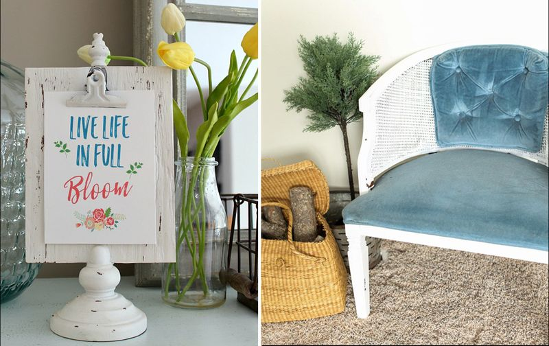 Spring printable, painted wicker style vintage chair