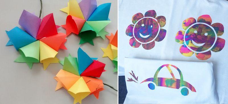Modular paper flowers craft,screen printed kid's drawings