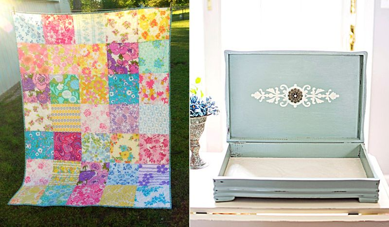 Vintager sheets quilt,vintage silverware box redone