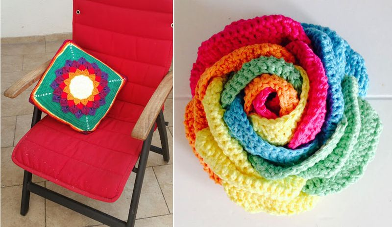 Crocheted rainbow flower,crocodile stitch flower pillow