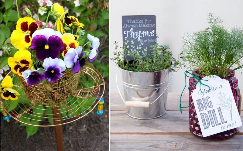 Teacup garden stake,herb teacher appreciation gifts