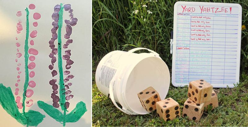 Yard yahztees,finger painted hollyhock