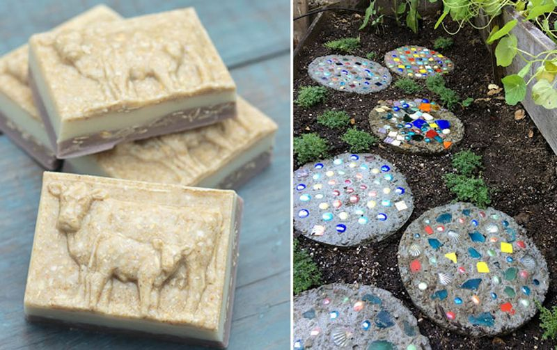 Mosaic stepping stones,oatmeal soap