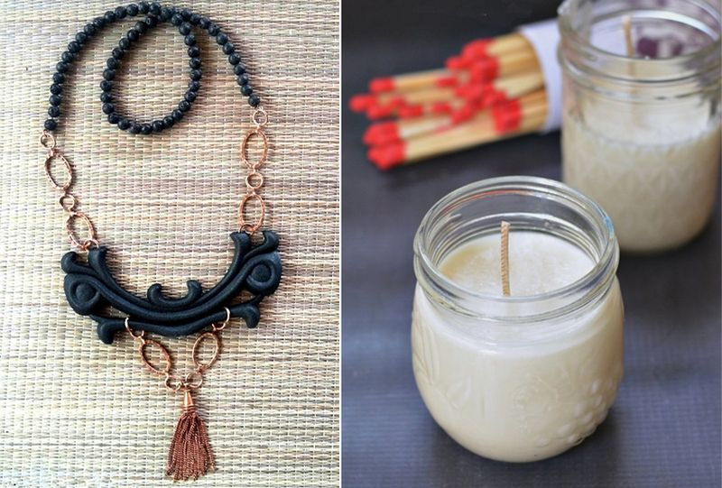 Citronella DIY candle,necklace with plastic pieces