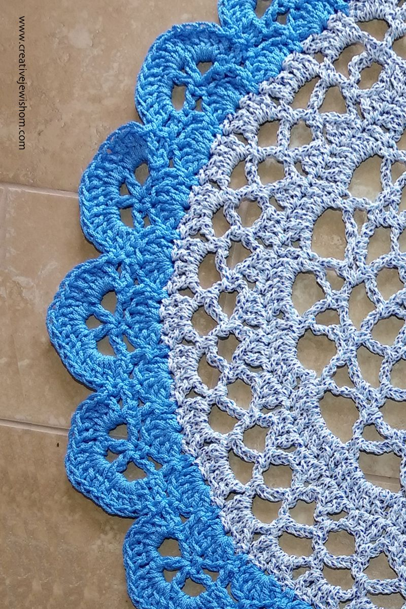 Crocheted Giant Doily With Cord close up
