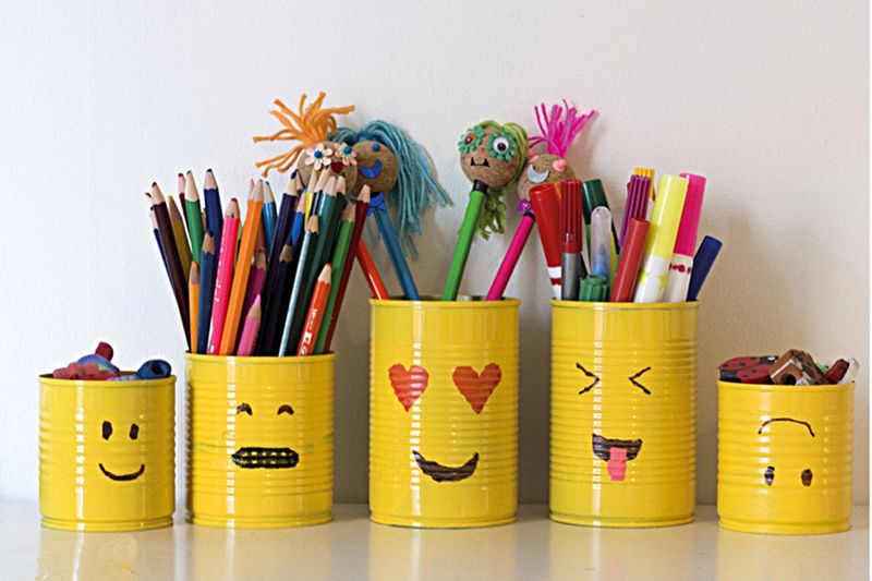 Recycled can pencil holders emoji