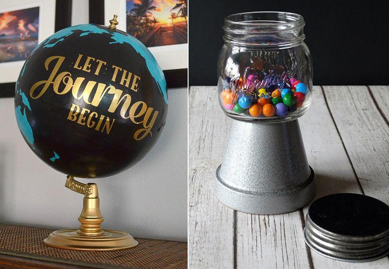 Upcycled globe,mason jar gumball