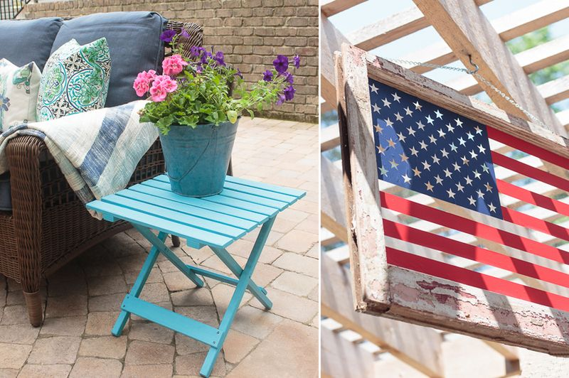 Folding side table makeover,american flag in an old window frame