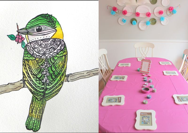 Crafty birthday party,how to draw and paint birds
