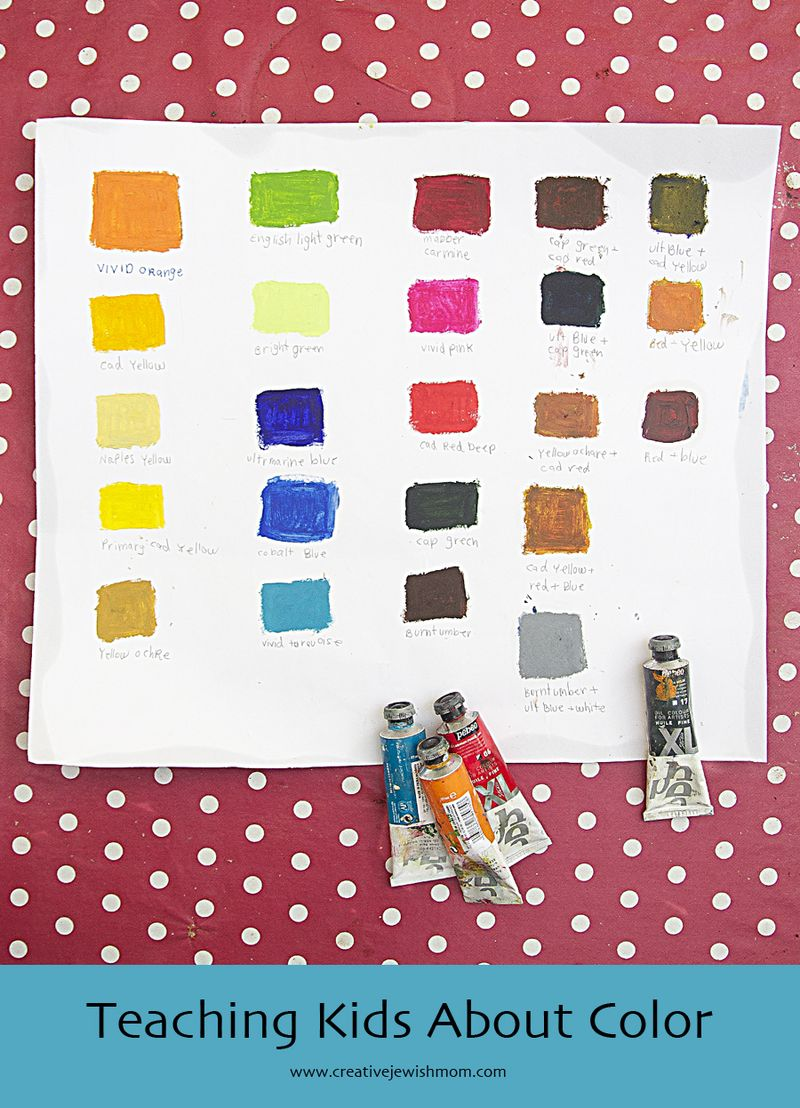 Color Chart With Oil Paints Kids