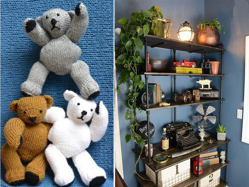 Knit teddy bears,industrial pipes and shelves unit
