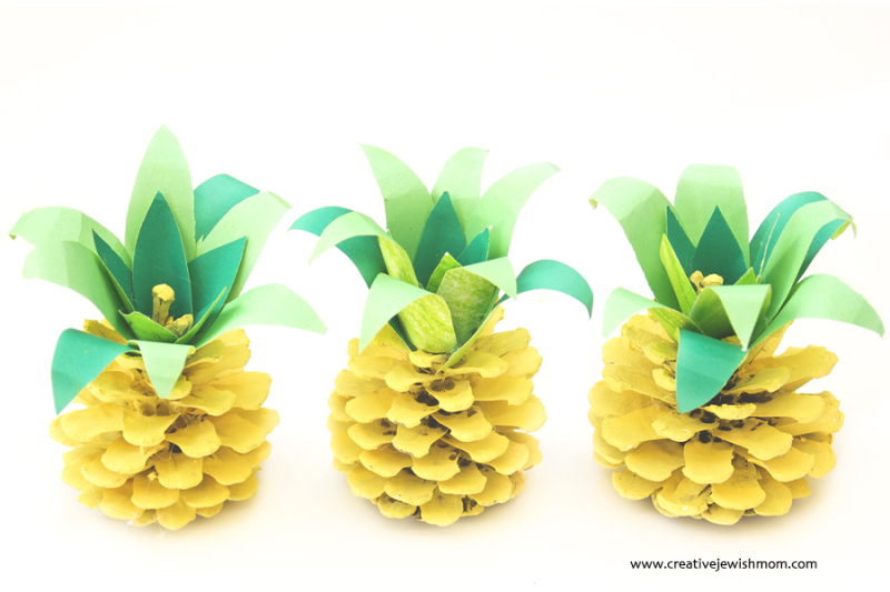 Pinecone Pineapples Summer Kids Craft