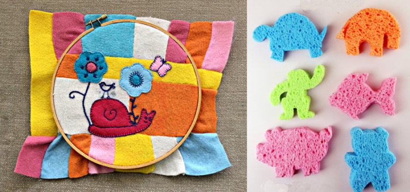 Felt applique with embroidery,animal shaped sponges