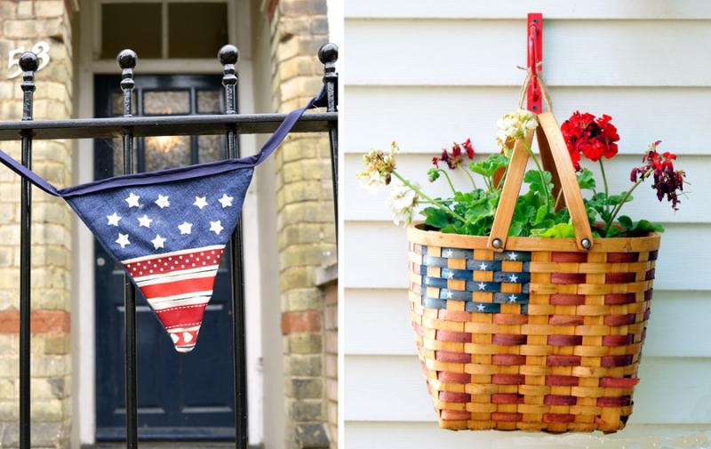 Jean patriotic bunting,wicker flag painted basket