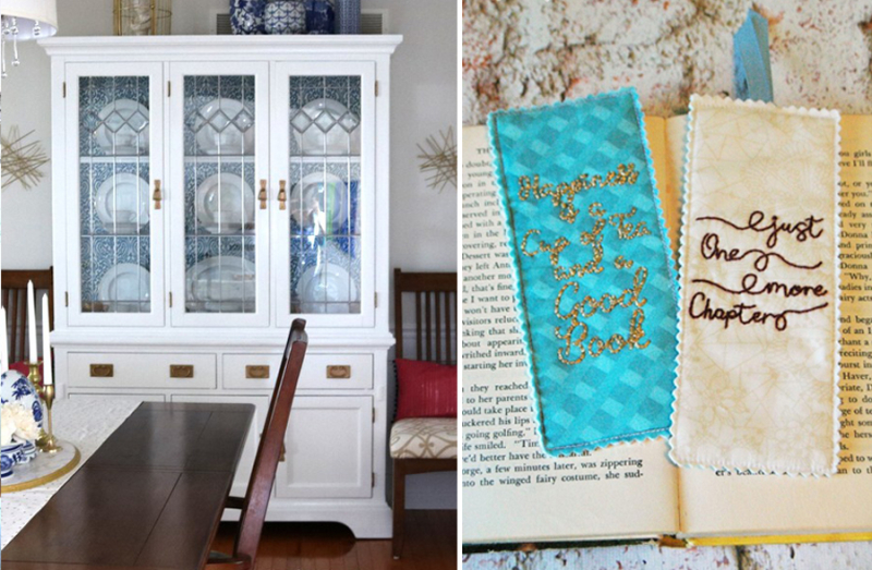 Embroidered bookmark,painted china cabinet