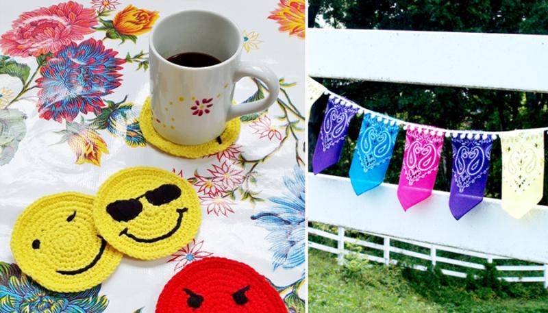 Crocheted emoji coasters,bandana bunting with pom pom trim