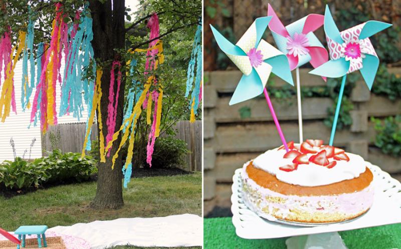 Pinwheel birthday cake,tree streamers