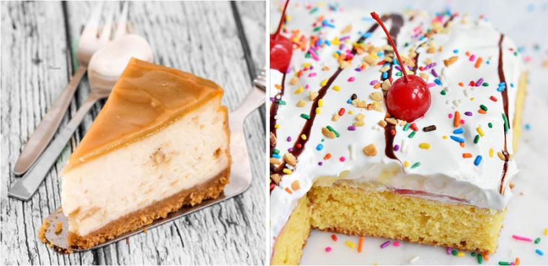 Banana split poke cake,halva cheesecake