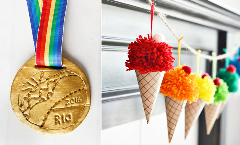 Pom pom ice cream cone garland,olympic medal kid's craft