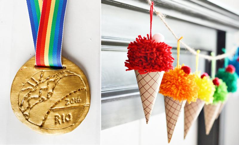 Pom pom ice cream cone garland,olympic medal kid's craft
