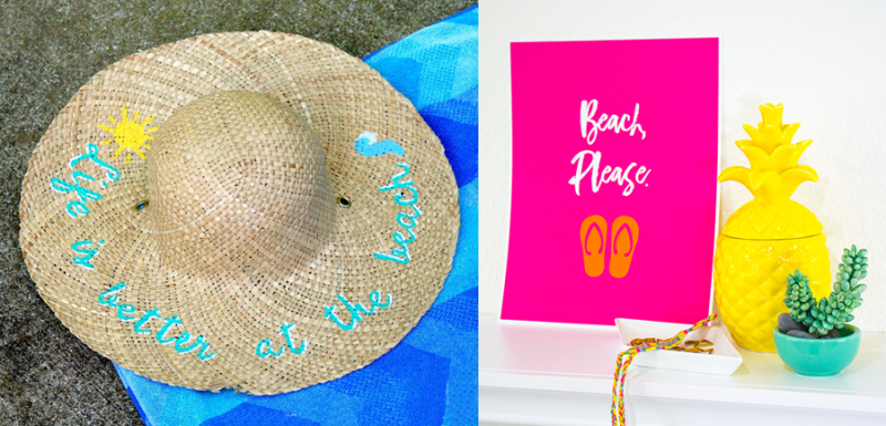 Summer printable,painted straw hat craft