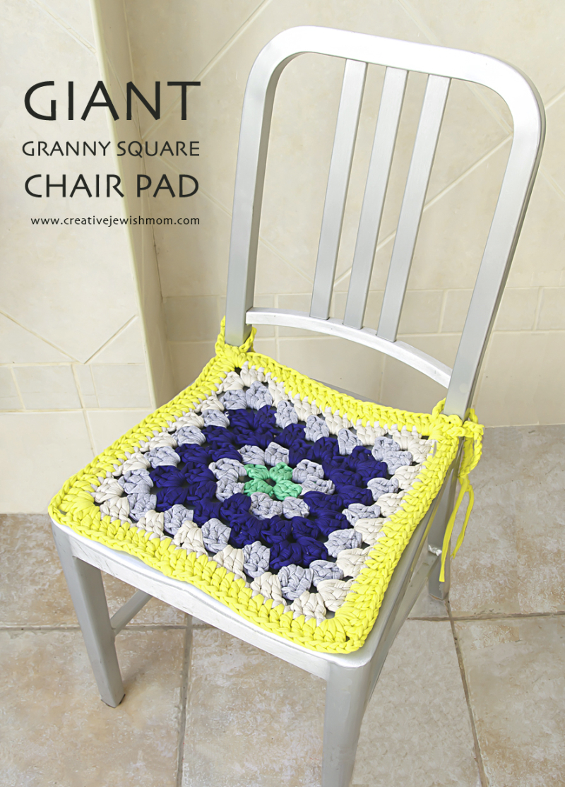 Giant Granny Square Chair Pad With T-Shirt Yarn
