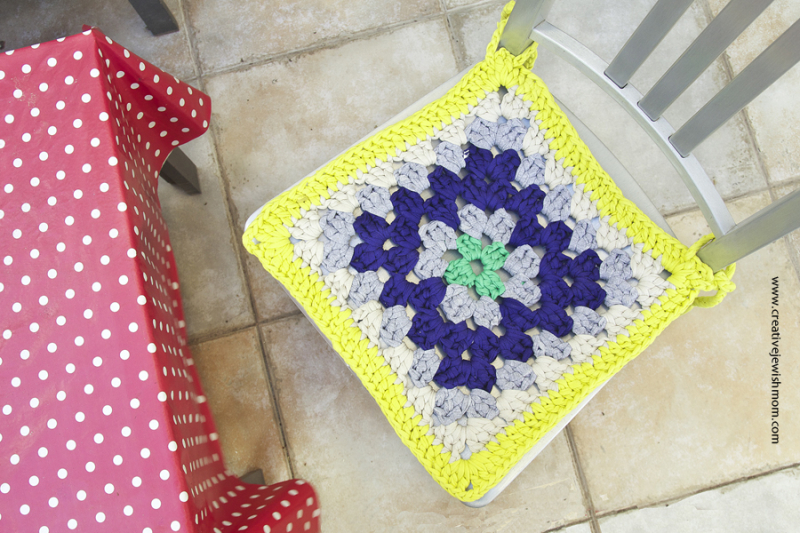Giant Granny Crocheted Chair Pad looking down