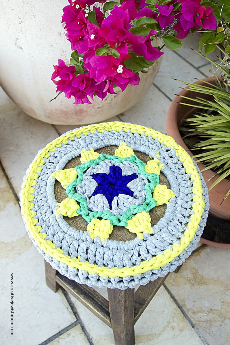 Crocheted Stool cover with flowers