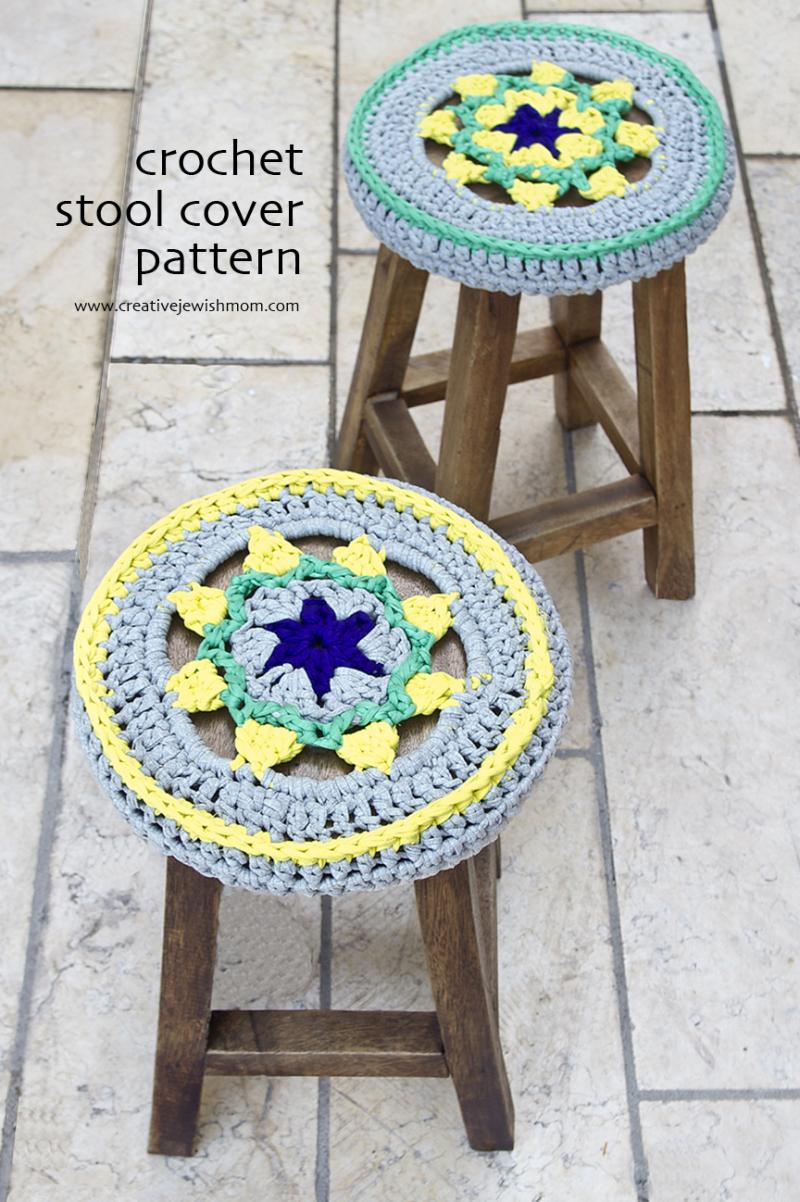Crocheted Stool Covers T-Shirt Yarn Pattern