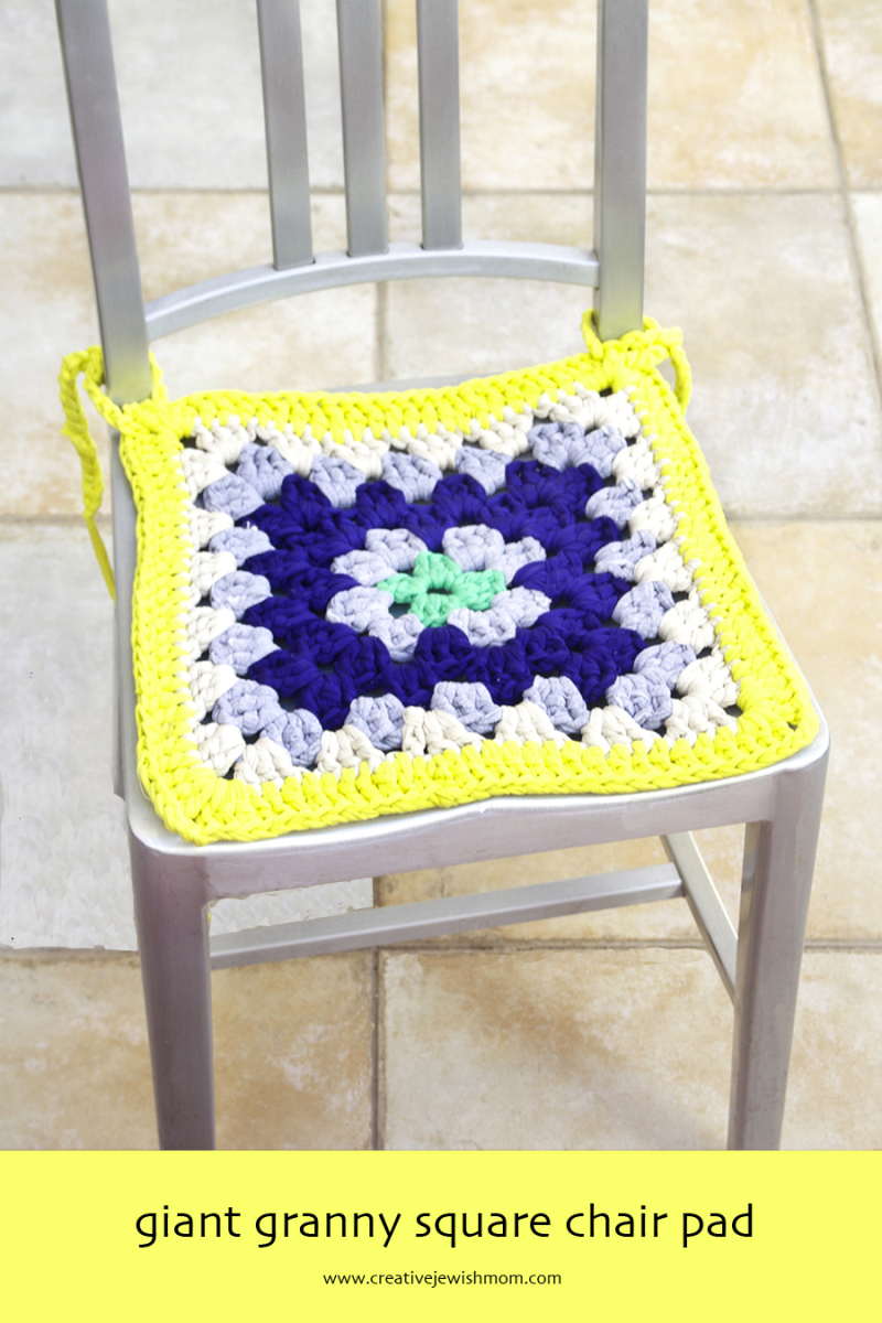 Giant Granny Square Crocheted Chair Pad yellow and blue