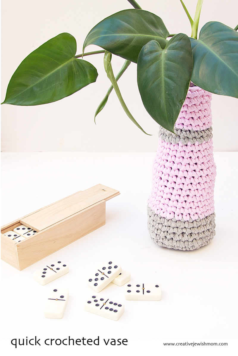 Crocheted Vase With Dominos