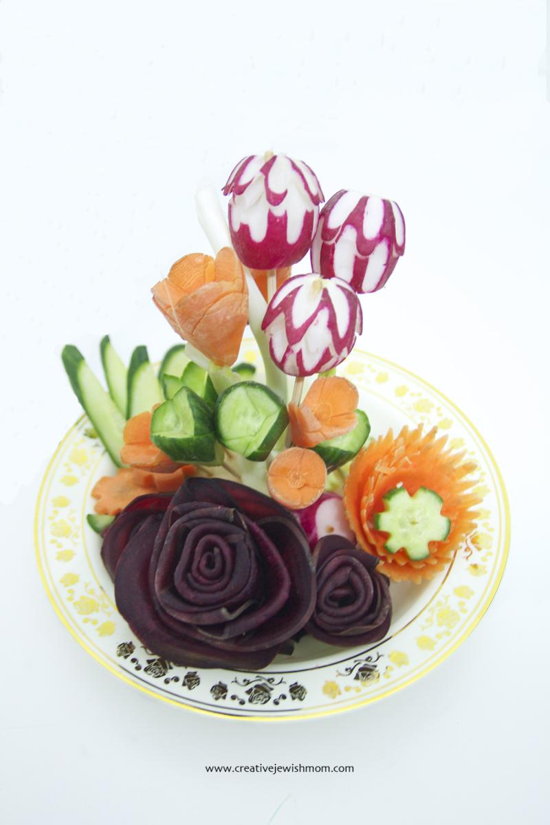 Vegetable Carving Flowers Centerpiece