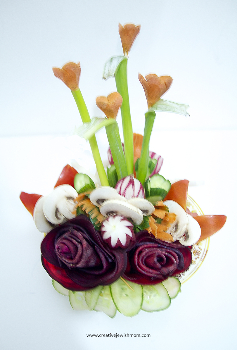 Vegetable Carving Centerpiece with Beet Roses
