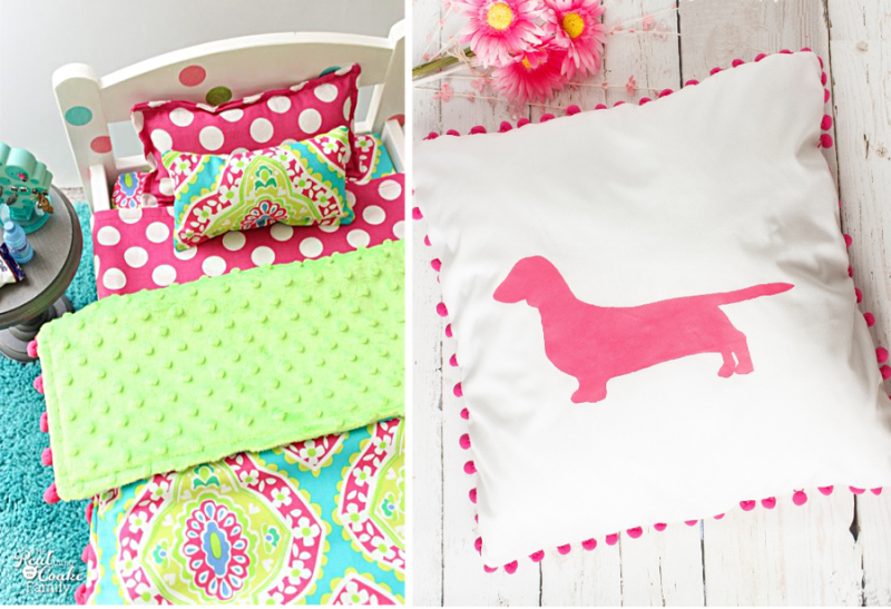 American Doll Bed, stencilled pillow with pom poms
