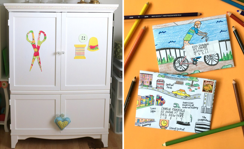 Sewing machine cabinet,envelopes made from coloring pages
