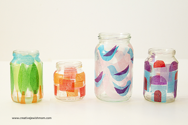 Baby Food Jar Votives With Tissue Paper Decoupage