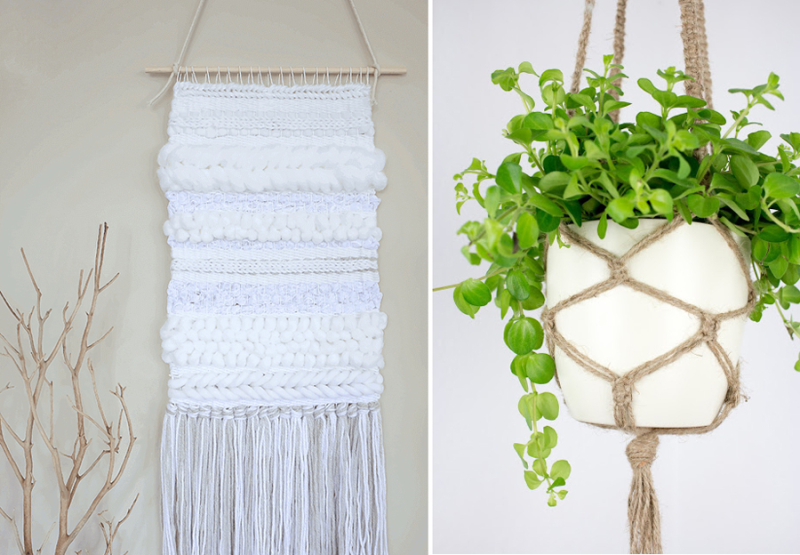 Macrame plant hanger,simple woven wall hanging
