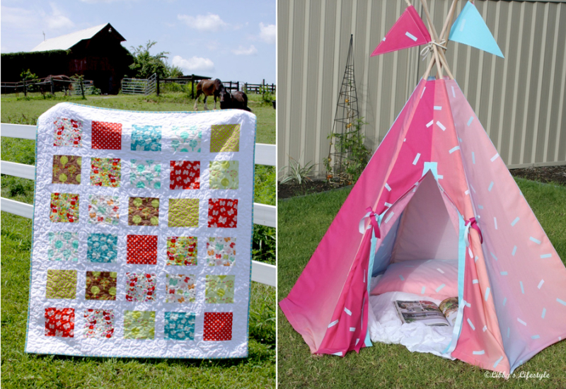 Flannel windows quilt,DIY teepee to sew