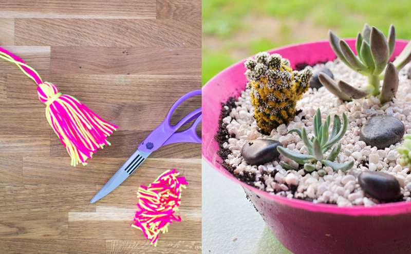 How to make a tassel,succulent planter mixed