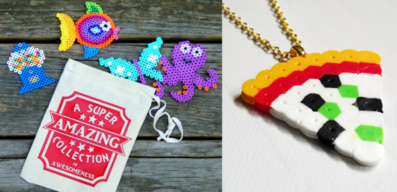 Perler bead pizza necklace,DIY keepsakes bag