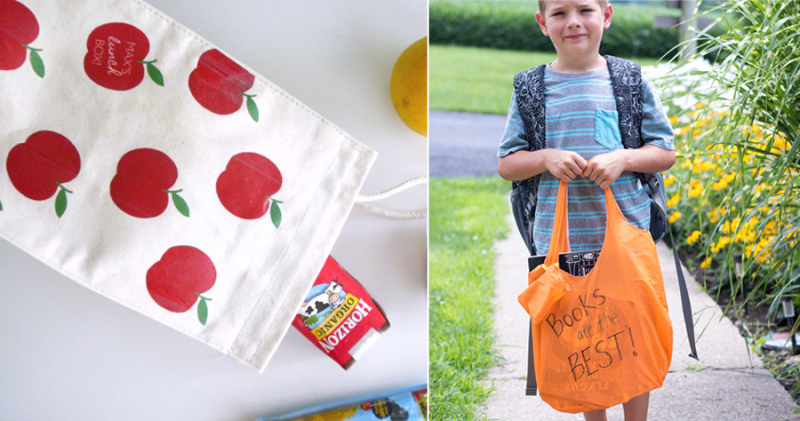 DIY library book bag,DIY lunch bag with apples