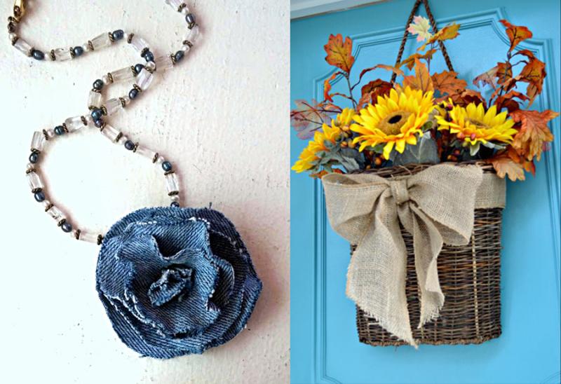 Denim flower necklace,front door basket